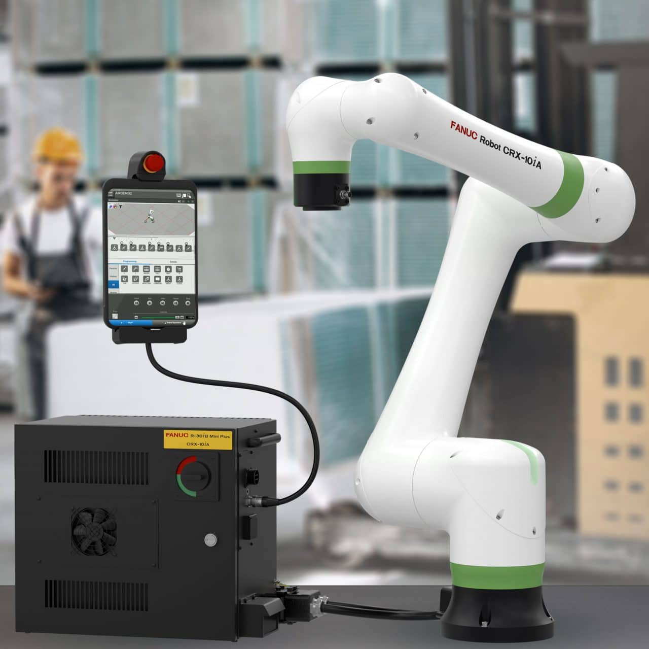 CRX Robot, Controller, Teach Pendant in factory